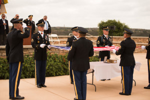 The 11th Armored Cavalry honor guard conducted a flag ceremony in honor of Sgt. Schroeter, whose specially engraved urn was displayed along with a Medal of Honor.