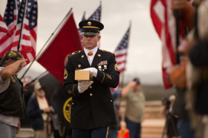 Sgt. 1st Class Joshua Gendron of the 11th Armored Cavalry carries the urn bearing Sgt. Schroeter's remains into the ceremony.