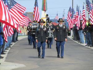 Lt. Col. Felix Perex, left, commanding officer of the 8th Cavalry Regiment at Fort Hood, Tex., led the cortege escorting Sgt. Charles Schroeter's remains to the Memorial Circle at Miramar National Cemetery.