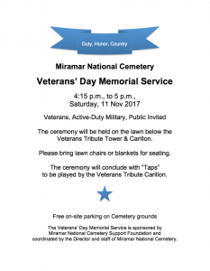 Veterans Day Memorial Services 2017